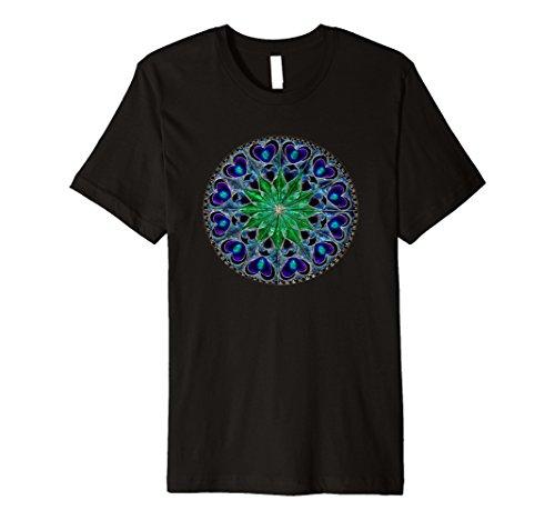 Mens Mandala T Shirt, Blue Hearts Green Center, Premium 2XL - Black Center Heart