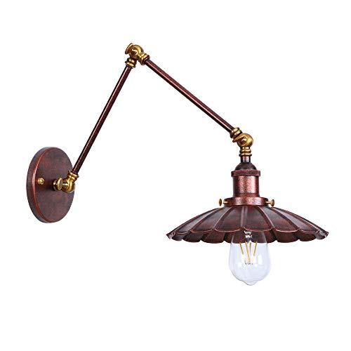 Retro Wall Sconce Swing Arm Wall-Light E26 Industrial Vintage Decor Wall-Lamps Brass Rust