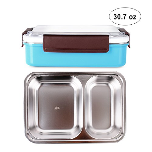 HOMESPON Bento Boxes Stainless Steel Lunch Boxes with Compartments Insulated Water Heating Food Containersfor Kids, Adults, School, Office, Work, BPA Free-Three Color(2 Compartments/ 30.7 oz., Blue) - Insulated Food Compartment