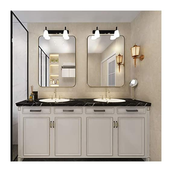 """ANDY STAR Gold Bathroom Mirror,22x30'' Brushed Brass Metal Frame Rounded Corner Wall Mirror,Rectangle Wall Mounted Mirror Glass Panel Hangs Horizontal or Vertical for Bathroom,Vanity,Washroom - An Ornate Gold Mirror: An artistic display on its own, this brass mirror is a beautiful part of any home decorating scheme. Bring simple sophistication to any room with our 22"""" x 30"""" floating glass modern round corner gold metal framed mirror. The plate glass mirror floats in the frame surrounded by a thin 1/12"""" gap. Perfect Bathroom Mirrors for Wall: This 22'' x 30'' inch large mirror is the ideal size for the wall of a bathroom or an entryway. The golden metal frame adds elegance and class. The rounded corners lend a softness to the design. The polished mirror is presenting a beautiful reflection without any distortion of visual, and premium MDF backing prevents corrosion in humid environments,make it perfect for bathroom. Wall Mirrors Decorative for Home: This timeless metal rectangle round corner large mirror matches any room and any decor perfectly. Use as a gold or brass bathroom mirror, vanity mirror, or entry mirror. Add light and enhance the beauty of any room in your home instantly! - mirrors-bedroom-decor, bedroom-decor, bedroom - 413LHnkMOYL. SS570  -"""