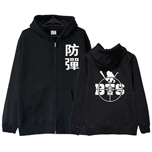 BTS Hoodie Jin Jimin Suga Jung Kook Rap-Monster Same Style Jacket Sweater L Black by babyHealthy (Image #1)