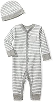 Moon and Back Baby Organic Snap-Front One-Piece Coverall with Cap Set, Grey Heather, 3-6 Months