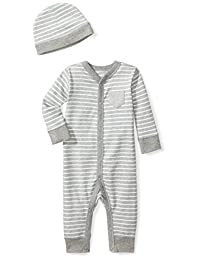 Moon and Back Baby Organic Snap-Front One-Piece Coverall with Cap Set, Grey Heather, 18 Months