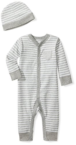 Moon and Back Baby Organic Snap-Front One-Piece Coverall with Cap Set, Grey Heather, 0-3 Months