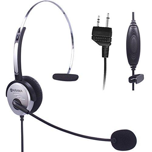 Adjustable Overhead Headphones (Arama PTT MIC Headphone Headset w/ Adjustable Band for Midland GMRS FRS Radios)