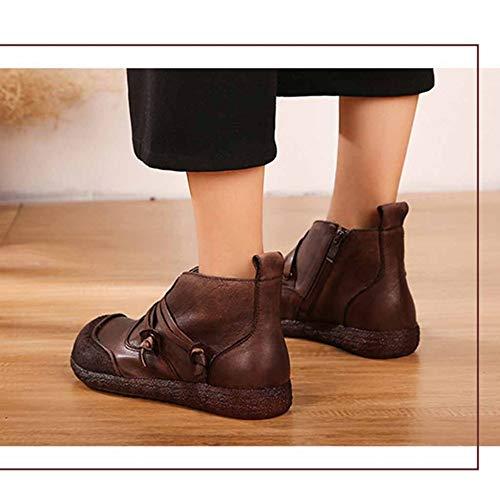 Della Flats Mezza Utility Decorazione Lavoro Loafer Brown Laterale Inverno Retro Età Martin Pizzo Boots Di Vamp Signore Donna Chiusura Lampo Calzature TO0Yaqw