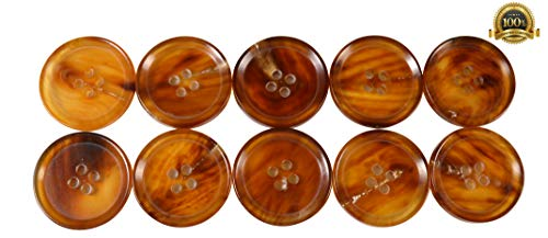 Set of 10 Premium Genuine Chestnut Brown and Tan Buffalo Horn Buttons 25mm 1 Inch for Pea Coats, Overcoats, Winter Coats, Trench -