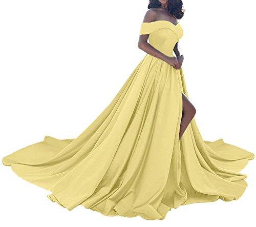 10ea318bb4 Amore Bridal Vintage Princess Off Shoulder Wedding Dress Satin Slit Evening  Prom Gown Yellow