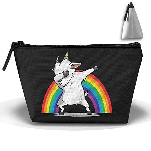 Louise Morrison Funny Dabbing Goat Rainbow Pen Stationery Pencil Case Cosmetic Makeup Bag Pouch