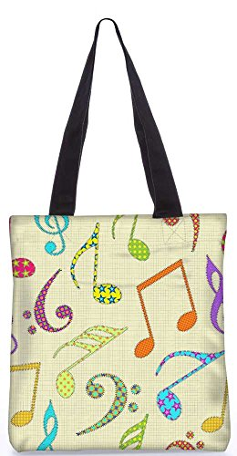 """Snoogg Bunte Musik Alphabete Einkaufstasche 13,5 X 15 In """"Einkaufstasche Dienstprogramm Trage Aus Polyester Leinwand"""