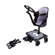 Mee-Go Sit N Ride 4 Wheeled Universal Buggy Ride On Board with Seat & Steering Wheel to fit All Pushchairs, Prams and Strollers - Endorsed by The Autistic Society by 4 Wheeler