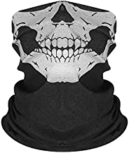 Seamless Neck Gaiter Shield Scarf Bandana Face Mask Seamless UV Protection for Motorcycle Cycling Riding Skull