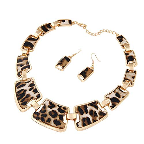 IslandseFashion Gold Tone Style Leopard Grain Necklace Collar Bib for Women