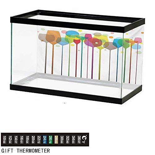 wwwhsl Aquarium Background,Winery,Colorful Wine Glasses Alcohol Drink Beverage Fizzy Champaigne Party Bar Art Design,Multicolor Fish Tank Backdrop 48