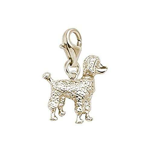 14K Yellow Gold Poodle Charm With Lobster Claw Clasp, Charms for Bracelets and Necklaces