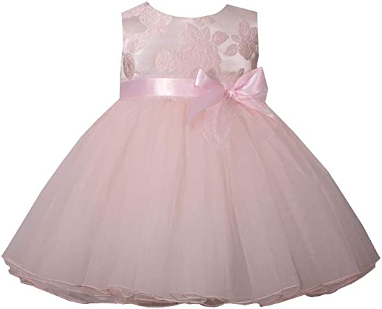 Michealboy Infant Baby Girls 3PC Baptism Bow Waist Dresses Wedding Party Flower