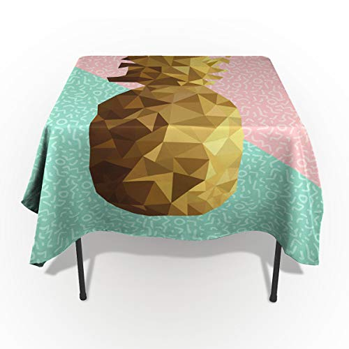 - Indie Tablecloths for Rectangle 60 x 84-inch Table Cover, Cotton Linen Fabric Table Cloth for Dining Room Kitchen, Retro Summer Concept Pineapple Fruit in Poly Design Memphis,