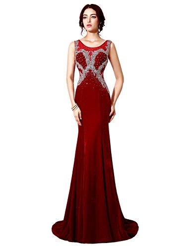 Clearbridal Women's Mermaid Crystal Beaded Burgundy Prom Dress Evening Gown CXU033BG-US12