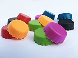 No leak, BPA free silicone beer caps assorted colors - 12 pack reusable caps - Wine stoppers beer caps homebrew - Bottle corks - Fits most bottles - No more wasting $$ on unfinished beer