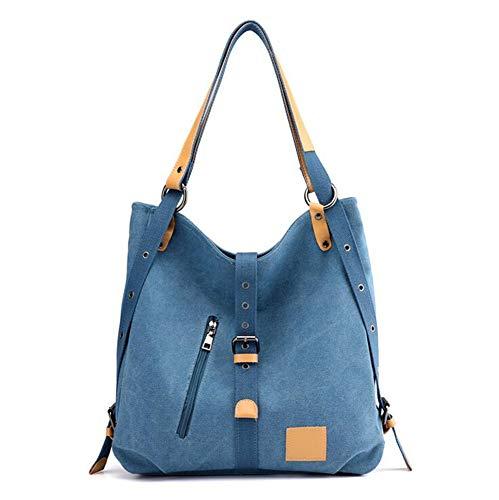 Mujer Capacidad Bolso única de para Unisex de multifunción Hombro de Lona WEIZHE azul de Bolsa Adulto Talla marrón Gran Mano x0ndUOwPPq