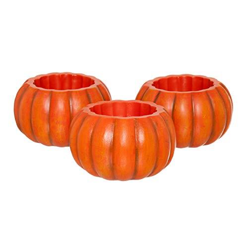 PINE AND PAINT LLC Mini Decorative Pumpkin LED Candle Holders Succulent Planters Set of 3