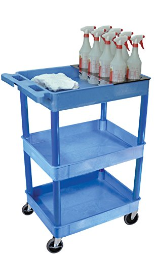 LUXOR BUSTC111BU Tray Shelf Carts, Blue (Side Tray Utility)