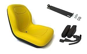 Nuevo Amarillo respaldo alto asiento w/giro caña y reposabrazos John Deere X500X510X520por la tienda de Rop