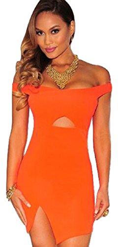 Neuf pour femme Orange Crossover Off épaule Mini robe de bureau Robe Soirée Taille UK 10–12–EU 38–40