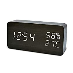 FiBiSonic Digital Alarm Clock with LED Display, Wooden Desk Clock with Voice Control Adjustable Brightness, 3 Alarm Settings, Bedside Alarm Clocks for Home, Kitchen, Office -Black