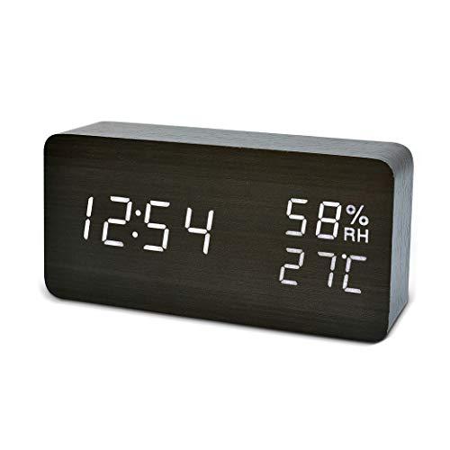 - FiBisonic Alarm Clock with LED Digital Display,Wood Clock with Voice Control Adjustable Brightness,3 Alarm Settings,Bedside Alarm Clocks for Home,Kitchen,Office Desk Clock-Black