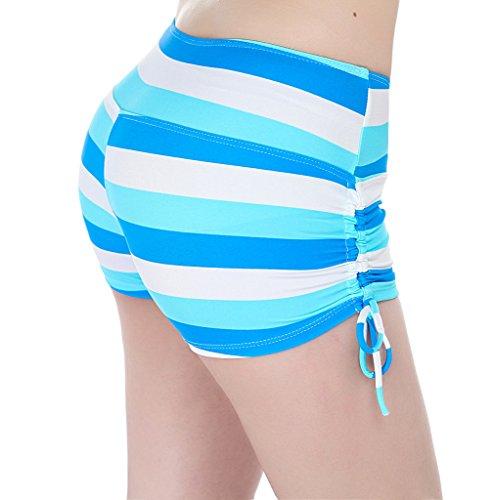 YoungSoul Shorts de baño para mujer - Trajes de playa boardshorts - Bikini de pantalon con frunces en el lateral - Braguitas y Culotes de bikinis Rayas 3