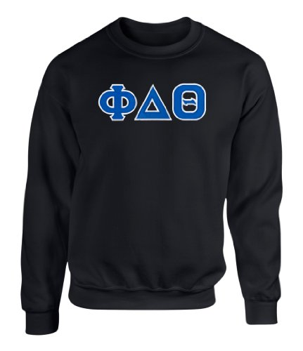 Phi Delta Theta Twill Letter Crewneck Sweatshirt by Fashion Greek Black Medium