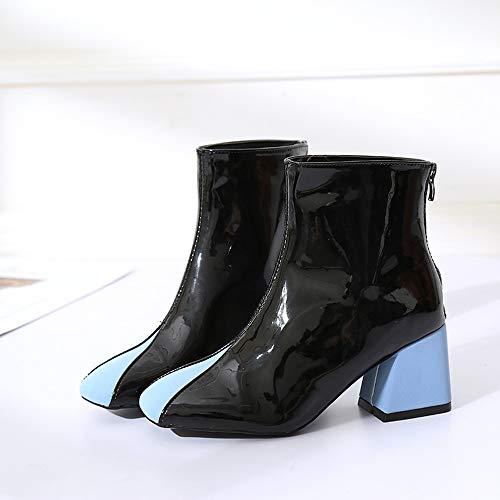 Épais Rétro Bottes Noir Botte Jiangfu Mélangé Square Martin La Tête Talon Mode De Couleurs Chaussures Femme fZ8qz