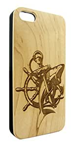 Genuine Maple Wood Organic Shark with Anchor and Ship Wheel Snap-On Cover Hard Case for iPhone 6 Plus