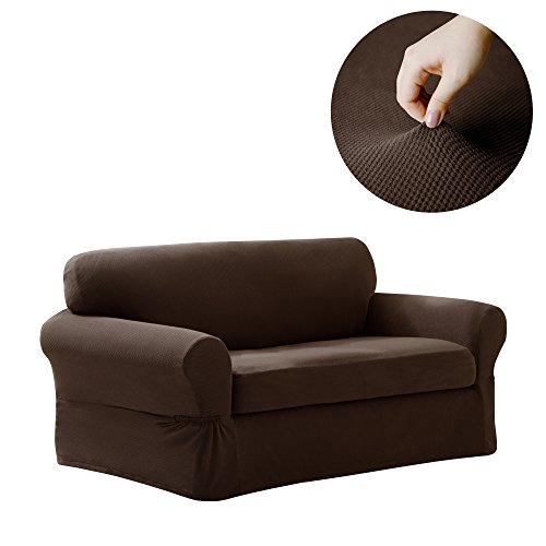 MAYTEX Pixel Stretch 2-Piece Loveseat Furniture Cover/Slipcover, Chocolate ()
