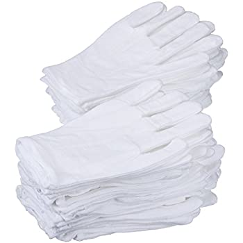 eBoot 24 Pairs 8 Inches White Cotton Gloves Work Gloves, Medium