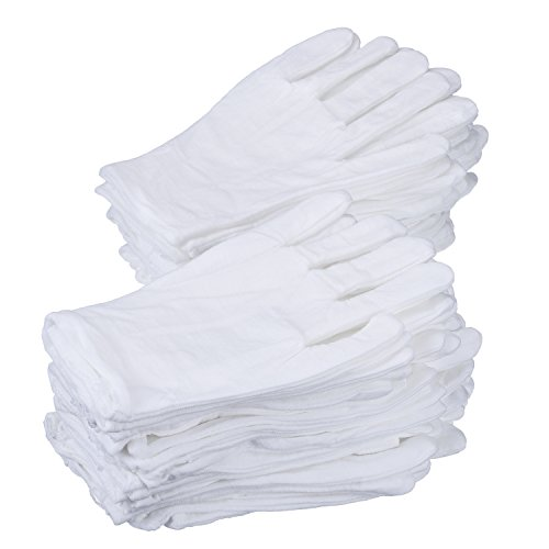 [eBoot 24 Pairs 8 Inches White Cotton Gloves Work Gloves, Medium] (Halloween Costumes 03)