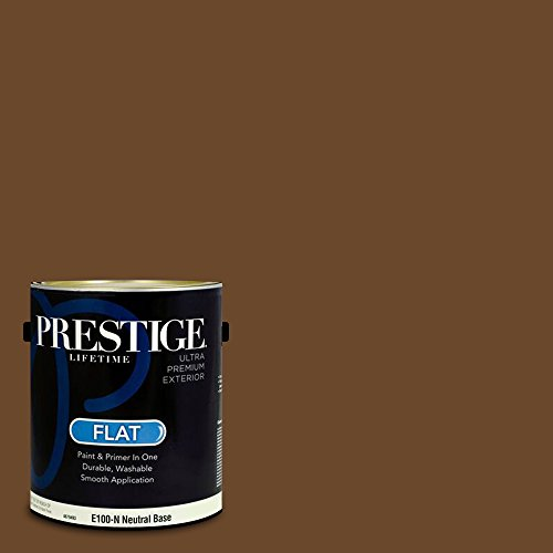 Prestige Paints E100-N-SW6097 Exterior Paint and Primer in One, 1-Gallon, Flat, Comparable Match of Sherwin Williams Sturdy Brown, 1 Gallon, SW97-Sturdy