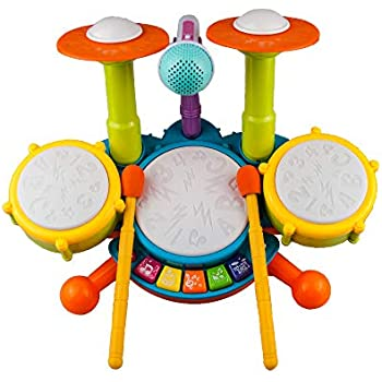 6b4297e3f Rabing Kids Drum Set Beats Flash Light Toy Adjustable Microphone, Multicolor