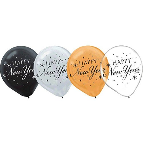 New Year Latex Balloons, 15 Ct. | Assorted Colors | Party Decoration