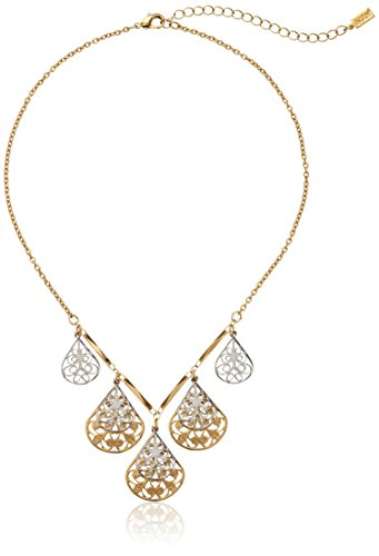 1928 Jewelry Gold and Silver-Tone Filigree Teardrop Collar Adjustable Necklace, 16'' by 1928 Jewelry