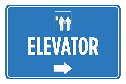 Elevator Blue White Print Right Arrow Direction Lift Picture Poster Horizontal Business Office Sign