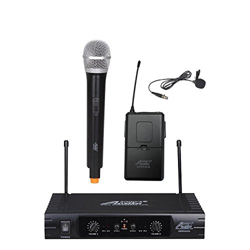 audio2000 39 s awm6525ul professional dual channel uhf wireless handheld lapel microphone system. Black Bedroom Furniture Sets. Home Design Ideas