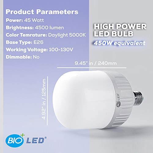 Bioled 45W, E26, 2 Pack, Daylight(5000K), 450 Watt Equivalent, LED Light Bulbs, IP40 Dustproof& Humudity Proof Light Bulbs, Commercial& Residental Bright LED Bulb, Work Light, Garage Light, Home Light