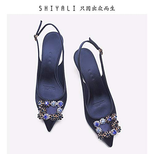 Middle Empty Heel Banquet Fine shoes Forty KPHY Silk Pointed Drill Heel Rear Women's Single Shoes And Black Summer Shoe x1zqwSRzY