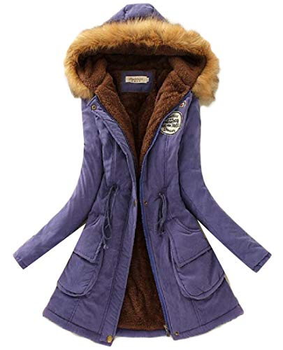 Sapphire Outwear Winter Thicken Coat Fleece H Blue Fur Parka Womens Faux amp;E Hooded Lined 7qxZzwgSEA