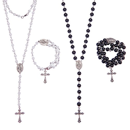 SUNNYCLUE Rosary Making Kit Pearl Bead Rosary Necklace DIY Kit - 2 Strands 6mm & 8mm Handmade Pearl Beads Chains, Crucifix, Rosary Centerpiece, Jump Rings and Lobster Claw Clasps- Make 2 Rosaries (Pearl Crucifix Rosary)