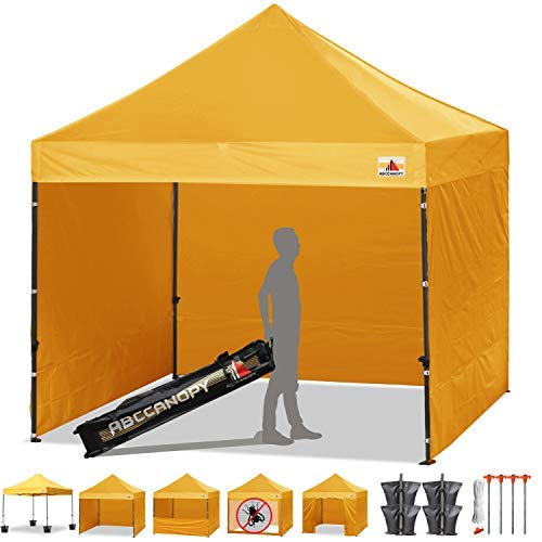 ABCCANOPY Tents Canopy Tent 10 x 10 Pop Up Canopies Commercial Tents Market stall with 4 Removable Sidewalls and Roller Bag Bonus 4 Weight Bags and 10ft Screen Netting and Half Wall,Gold