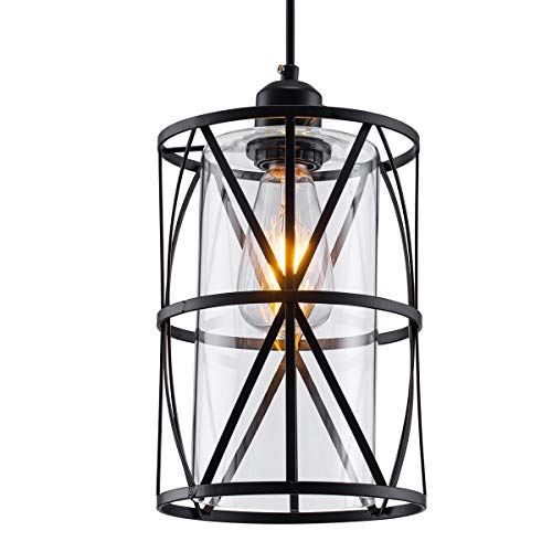 SHENGQINGTOP Black Industrial Metal Swag Light, Cylindrical Pendant Light with Clear Glass Shape, New Transitional Hanging Light Fixture for Kitchen Island Counter Dining Room Bedroom Restaurant (Clear Glass Pendant Lights For Kitchen Island)