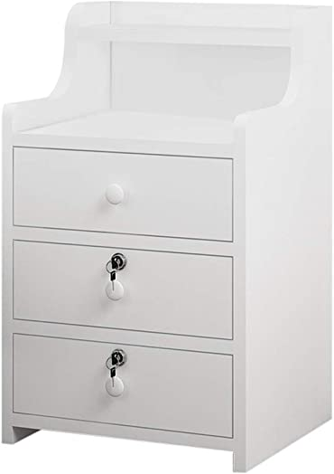 FartPeach Modern White nightstand Bedroom end Table with Lock Cabinet Drawers